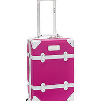 """Rockland Luggage 20"""" Carry On Spinner Hardcase Expandable Vintage Trunk TSA Pink"""