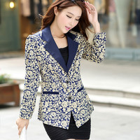 Free shipping New 2016 Spring Blazer women Fashion Temperament printing Suit One Button Slim Ladies Blazers Work Wear Jackets