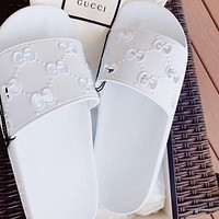 GG solid color hollow letters men's and women's casual slippers Shoes White