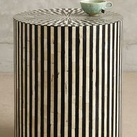 Rounded Inlay Side Table by Anthropologie in Black & White Size: One Size Furniture