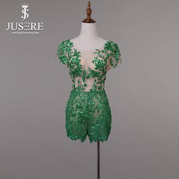 JUSERE Customize Short Sleeves Embroidery Lace Beading Shorts Mini Length Open V Back Green Short Prom Dress 2017