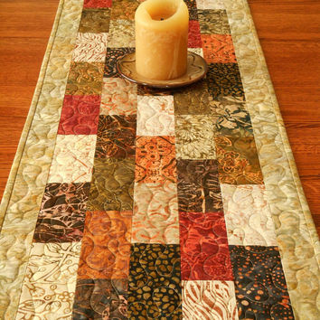Quilted Batik Table Runner in Tonga Spice Collection, Rust Brown and Red, Warm Earthtones, Table Top Quilt, Modern Table Runner