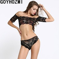 Women Intimate Sexy Bra & Brief Sets Black lace sexy lingerie hot lingerie set women sexy top and T panties set underwear