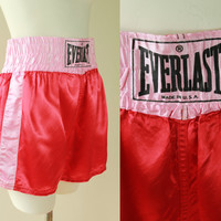 Vintage - Red & Baby Pink - Satin - EVERLAST - Boxer - Boxing Shorts - Made in USA