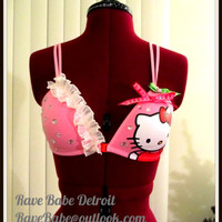Hello Kitty 36A Rave Bra -  Soft Cup Bra, Front Closure - (recommended to wear over another bra) // EDM // EDC // Halloween // Rave