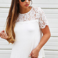 Ivory Crush Short Sleeve Lace Top