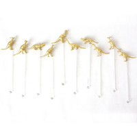 Whimsical Gold Dinosaur Drink Stirrers, Swizzle Stick, Cocktail Stirrer - Set of 10 on Clear