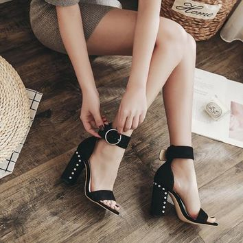 Rivets Suede Hasp High Chunky Heel Ankle Strap Sandals