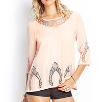 FOREVER 21 Embroidered Crochet Top