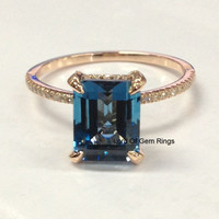 Emerald Cut London Blue Topaz Engagement Ring Pave Diamond Wedding 14K Rose Gold 8x10mm