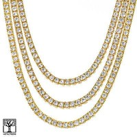 """Jewelry Kay style Men's Iced Out 3 Double Gold Plated Tennis Chain Necklace SET 16"""" / 18"""" / 20"""""""