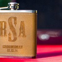 Personalized Leather Flask - Perfect Groomsmen Gifts - Engraved 6oz Stainless Steel Flask Wrapped In Leather