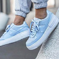 Bunchsun NIKE Air Force 1 Shadow Popular Women Casual Sport Running Shoes Sneakers Blue