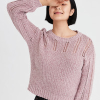 AE Eyelet Balloon Sleeve Pullover, Pink
