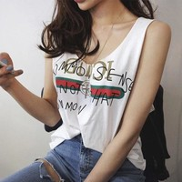 Gucci Sexy Comfortable Stylish Summer Beach Tops Sleeveless T-shirts Cotton Spaghetti Strap Vest [11516239564]