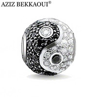 AZIZ Diy Chinese yin and yang beads big hole crystal beads rhinestone charms fit for pandora bracelet necklace women jewelry