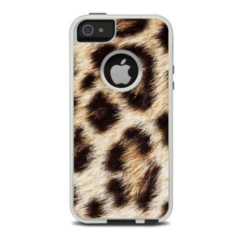 The Leopard Furry Animal Hide Apple iPhone 5-5s Otterbox Commuter Case Skin Set