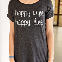 Happy Wife Happy Life Graphic Tee-SS  Charcoal