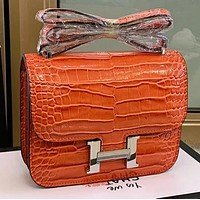 Hipgirls Hermes New fashion leather shoulder bag crossbody bag Orange
