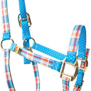 Madras Blue High Fashion Horse Halter - Made in the USA at RedHauteHorse.com