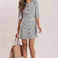 Susanne Black Gingham Button Dress