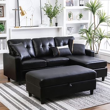 HONBAY Convertible Sectional Sofa with Ottoman Modern L Shape Sectional Couch Faux Leather Couch with Reversible Chaise, Black