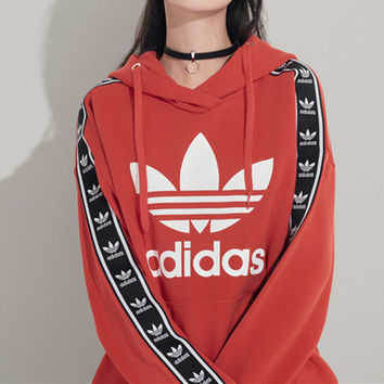 """Adidas"" Women Casual Multicolor Clover Letter Print Long Sleeve Hooded Sweater Tops"