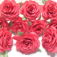 One dozen red Roses, Paper Roses for first wedding anniversary, Coffee Filter Roses, Fake flowers, Gifts for her, Handmade paper flowers