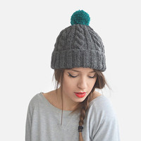 Hand Knit Beanie in Grey and Teal, Womens Chunky Wool Hat, Mens Ski Hat, Cable Knit Pom Pom Winter Hat, Custom Color / Hand Knitted