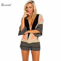 2016 New Fashion Women Jumpsuit Sexy Deep V Neck Print Drawstring Retro Style Flare Sleeve Printed Drawstring Women Romper
