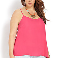 FOREVER 21 PLUS Breezy Woven Cami Fuchsia X-Large