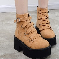 Hot style round head muffin with thick heel ankle boots SHOES