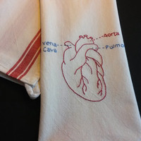 Embroidered anatomical heart, embroidered anatomy, embroidered tea towel, medical embroidery,nurse gift, doctor gift, medical home decor