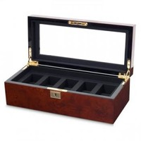 Men's Glass Top,�5 Compartment, Wooden Watch BoxKey Lock 2 Colors