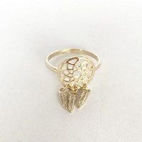 Dream Catcher Fringe Ring In Gold