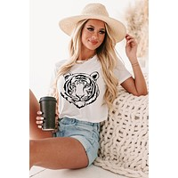 Tiger Cropped Graphic Tee (White) - Print On Demand