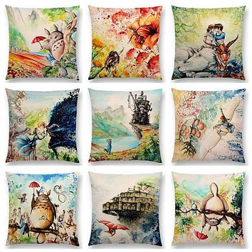 Hayao Miyazaki  Works Watercolor Totoro Howl's Moving Castle Spirited Away Castle In The Sky Cushion Sofa Throw Pillow