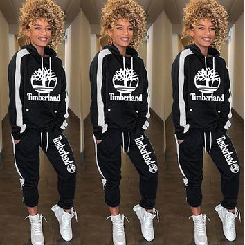 Timerland Women Fashion Leisure Round Collar Logo Print Pullover Sweater Pants Trousers Set Two-Piece black