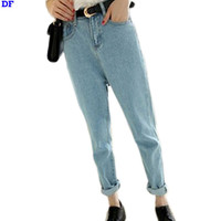2014 Spring Summer Women Casual Wearing White Retro Jeans Butt-lifting Denim Jeans Roll up  Haren Pants Plus Size S M L XL