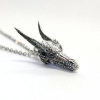 Silver Medieval Dragon Skull Necklace Dragon Skull Pendant