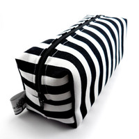 Striped Makeup Bag, Boxy Pouch, Squared Corners, Zippered, Travel, Cosmetic Pouch, gadget Case, Under 15, For Her, Black And White