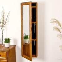 SEI Wall-Mount Jewelry Armoire with Mirror, Oak
