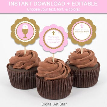 Pink and Gold Cupcake Toppers - Printable First Communion Cupcake Decorations - First Communion Cupcake Picks - Pink Toppers - EDITABLE TEXT