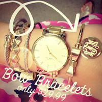 Monogrammed German Silver Gold Tone Infinity Bracelet   Marley Lilly