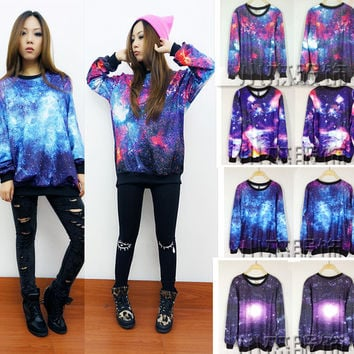 A 081901 Fashion Loose Starry Starry Patterned sweater