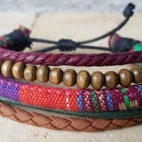 FREE SHIPPING-Men, Woman Bracelet, Multi Color and Strands. Handmade handknotted Hemp Style Country Jewelry, Unisex. 230