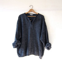 vintage dark gray sweater. slouchy knit shirt. henley pullover. oversized cozy fit.