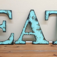 """Aqua """"EAT"""" - 9 1/2"""" - Rustic Distressed Letters Shabby Chic Style Photo Prop Wedding Gift Primitive Farm House Cottage Home Decor"""