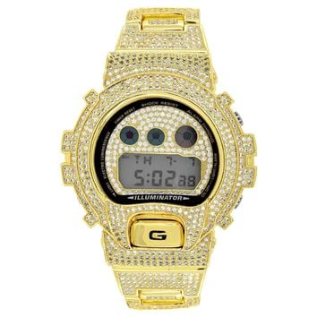 Gold Tone G Shock Watch  Simulated Diamonds DW6900 Mens