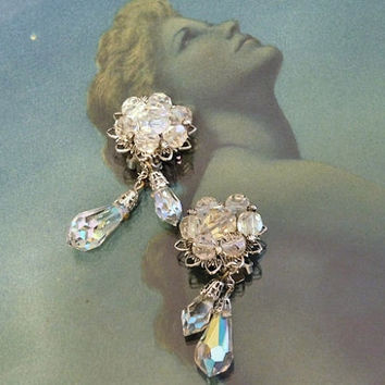 Swarovski Austrian Crystal Earrings AB Aurora Borealis Clip On Drop 1950s 50s Mid Century Art Deco Revival Old Hollywood Christmas Wedding